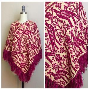 Vintage 1970s Pink and Cream Fringe Peacock Poncho